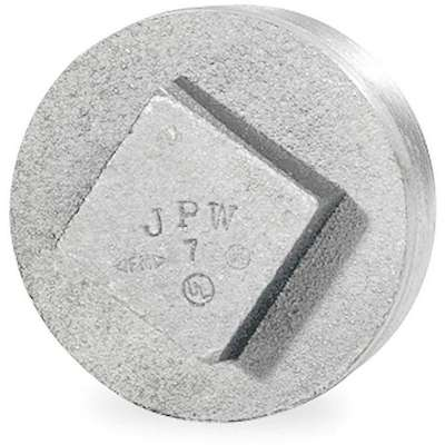 "Galvanized Malleable Iron Square Head Plug, 4"" Pipe Size, MNPT Connection Type"