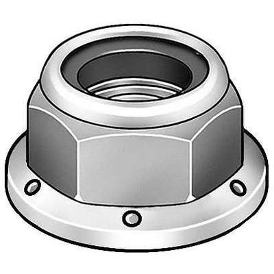 "3/8""-16 Nylon Insert Lock Nut - Flanged, Zinc Plated Finish, Grade 8 Steel, Right Hand, IFI-100/107"