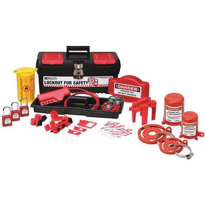Portable Lockout Kit, Filled, Electrical/Valve Lockout, Tool Box, Black