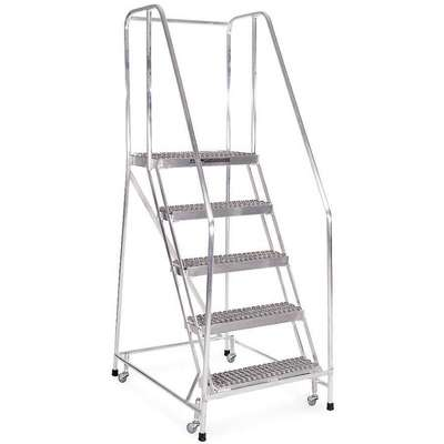 "5-Step Rolling Ladder, Serrated Step Tread, 80"" Overall Height, 350 lb. Load Capacity"