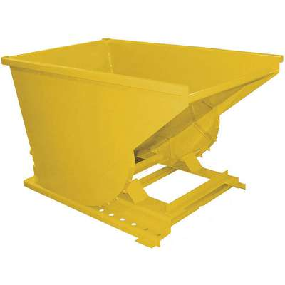"Yellow Self-Dumping Hopper, 7.0 cu. ft., 4000 lb. Load Cap., 22-1/4"" H X 44-3/4"" L X 33-3/4"" W"