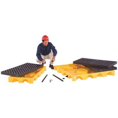 UltraTech® 44 gal. Polyethylene Drum Spill Containment Pallet for 4 Drums; Drain Included: No