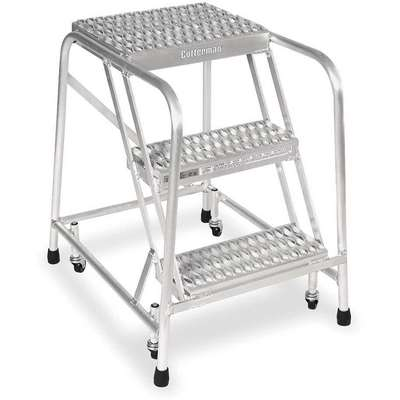 "Aluminum Rolling Step, 30"" Overall Height, 350 lb. Load Capacity, Number of Steps: 3"