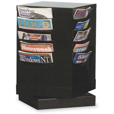 Magazine Display, 20 Compartments, Black