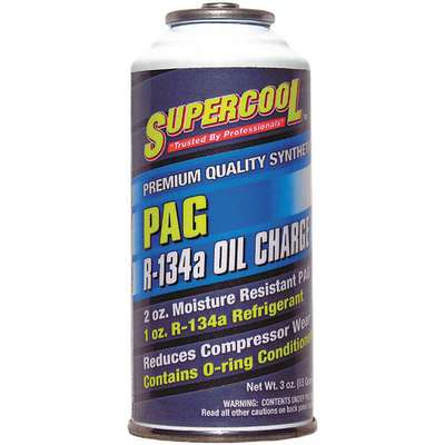A/C 134a Charge and PAG Lubricant, 3 oz., Can, Yellow/Green Tint