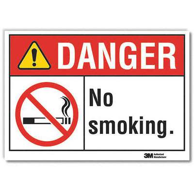 Vinyl No Smoking Sign with Danger Header, 10 in. H x 14 in. W