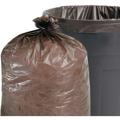 60 gal. Black/Brown Recycled Trash Bags, Super Heavy Strength Rating, Flat Pack, 20 PK