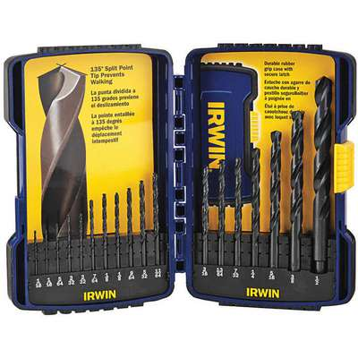 18 Pc Reduced Shank Twist Drill Bit Set, High Speed Steel, Black Oxide