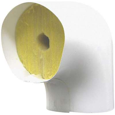 "1"" Thick Fiberglass 90° Elbow Pipe Fitting Insulation, 5.00 Approx. R Value, White"
