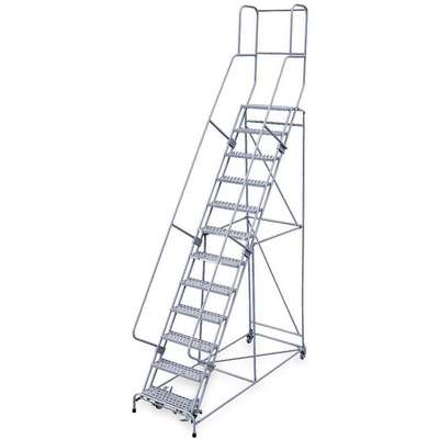 "12-Step Rolling Ladder, Expanded Metal Step Tread, 162"" Overall Height, 450 lb. Load Capacity"
