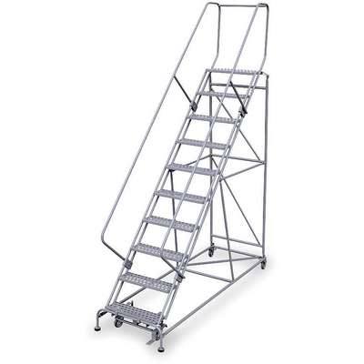 "10-Step Rolling Ladder, Perforated Step Tread, 130"" Overall Height, 800 lb. Load Capacity"