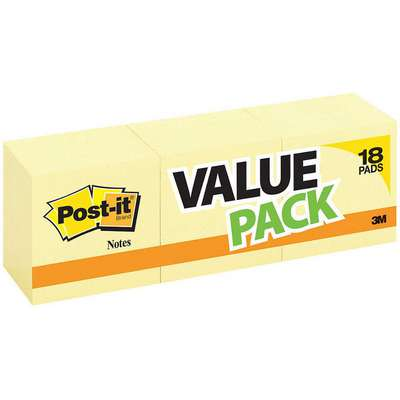 Sticky Notes, 3x3 In., Yellow, PK18