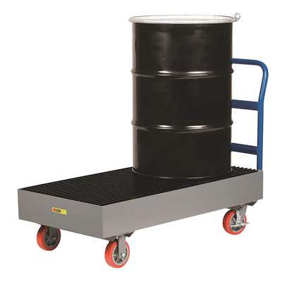 Little Giant Steel Drum Spill Platform Cart for 2 Drums; 33 gal. Spill Capacity, Black, Gray