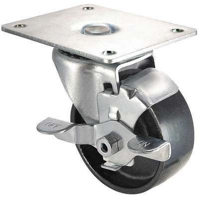 "Standard Plate Caster, Swivel, Iron, 250 lb., 3"" Wheel Dia."