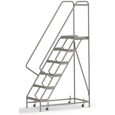 "6-Step Rolling Ladder, Ribbed Step Tread, 92"" Overall Height, 350 lb. Load Capacity"