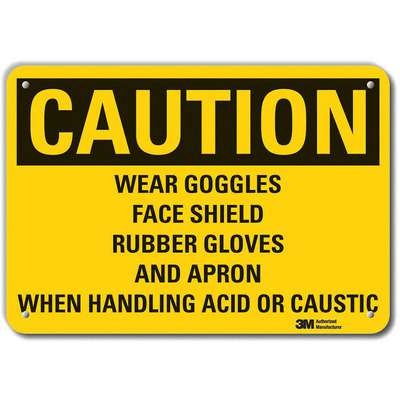 Recycled Aluminum Chemical Warning Sign with Caution Header, 10 in. H x 14 in. W