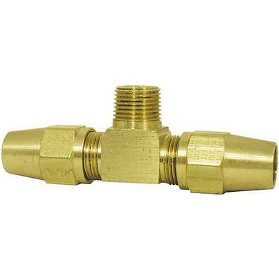 "DOT Approved Air Brake Male Branch Tee, Brass, 3/8 x 3/8"" x 1/4"""