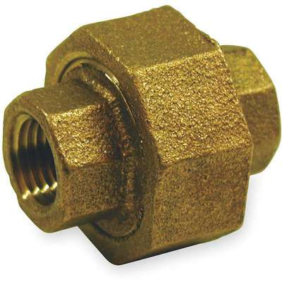 "Red Brass Union, FNPT, 1/2"" Pipe Size, 1 EA"
