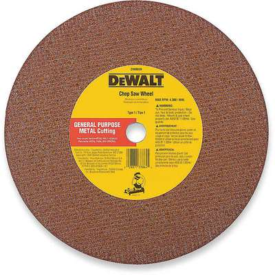 "12"", Type 1 Aluminum Oxide Abrasive Cut-Off Wheel, 20mm Arbor Hole Size, 0.125"" Thickness"