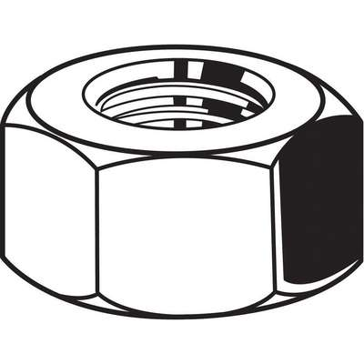 "5/16""-18 Hex Nut, Plain Finish, 316 Stainless Steel, Right Hand, ASME B18.2.2, PK50"