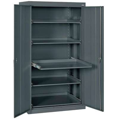 Storage Cabinet, 66 in., Steel, Charcoal