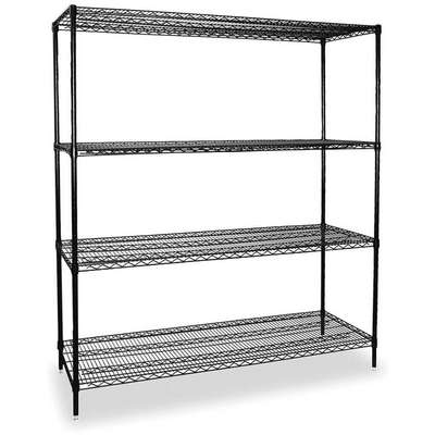 "Starter Wire Shelving Unit, 48""W x 24""D x 74""H, 4 Shelves, Powder Coated Finish, Black"