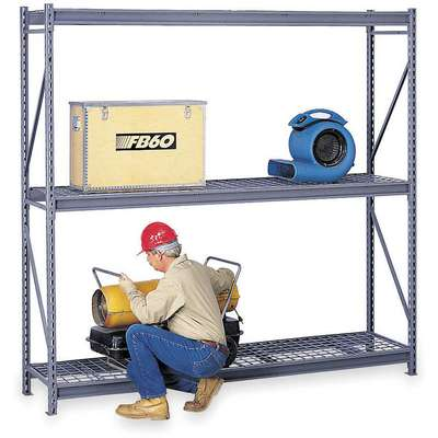 "Starter Bulk Storage Rack with Galvanized Wire Decking and 3 Shelves, 96""W x 24""D x 96""H"