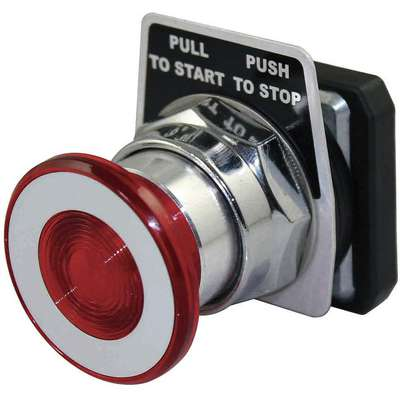Non-Illuminated Push Button, Type of Operator: 40mm Mushroom Head, Size: 30mm, Action: Maintained Pu