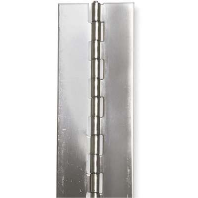 "270° Continuous Hinge Without Holes, Stainless Steel, Door Leaf: 12"" x 1-1/2"" W"
