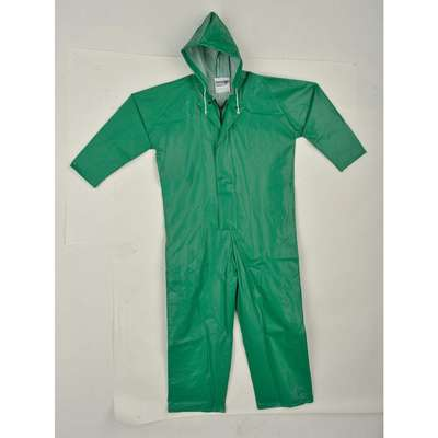 Flame Resistant Rain Coverall, Hood Style: Attached, Polyester, PVC, S, Green