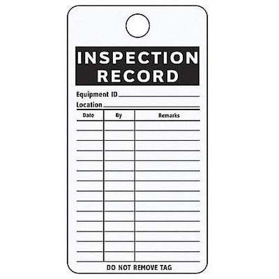 "Test Record Tag, Inspection Record, 4-1/4"" Height, 3"" Width, Aluminum, PK 25"