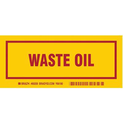 "Waste Label, Polyester, Waste Oil, 3"" Height, 7"" Width, Legend Color Red"