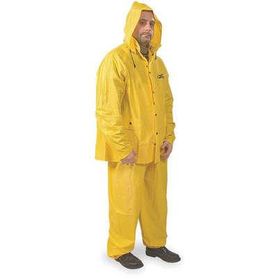 3-Piece Rain Suit with Jacket/Bib Overall, ANSI Class: Unrated, S, Yellow, High Visibility: No