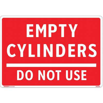 "Gas Cylinder Sign Label, Instruction, English, Fiberglass, 10"" Width, 7"" Height"