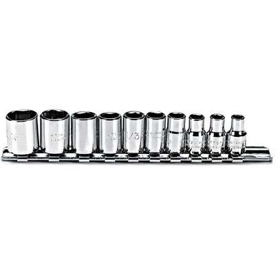 "1/4""Drive SAE Chrome Socket Set, Number of Pieces: 10"