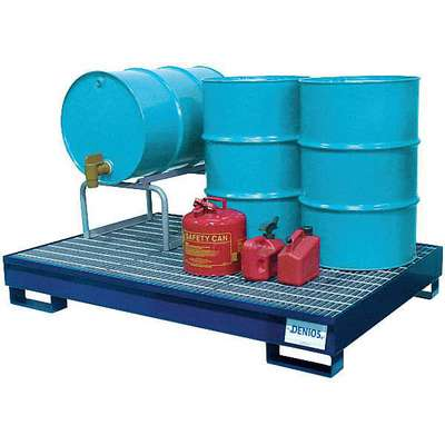 Denios 95 gal. Steel Drum Spill Containment Pallet for 6 Drums