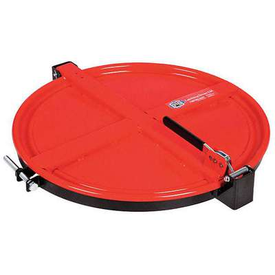 "Steel Drum Lid, Latching Lid, Red, Number of Openings 0, 23-1/4"" Outside Dia."