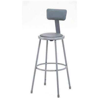 "Round Stool with 30"" Seat Height Range and 300 lb. Weight Capacity, Gray"