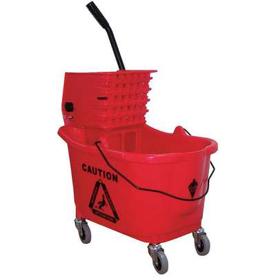 Red Plastic Mop Bucket and Wringer, 8-3/4 gal.