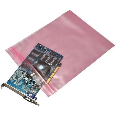 "3""L x 2""W Anti-Static Reclosable Poly Bag with Zip Seal Closure, Pink; 4 mil Thickness"