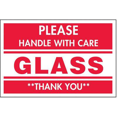 "Shipping Labels, Glass Handle with Care, Paper, Adhesive Back, 3"" Width, 2"" Height, PK 500"