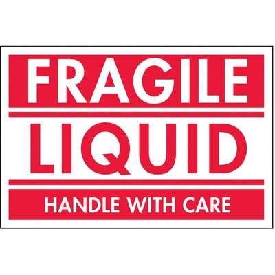 "Shipping Labels, Fragile Liquid, Paper, Adhesive Back, 3"" Width, 2"" Height, PK 500"