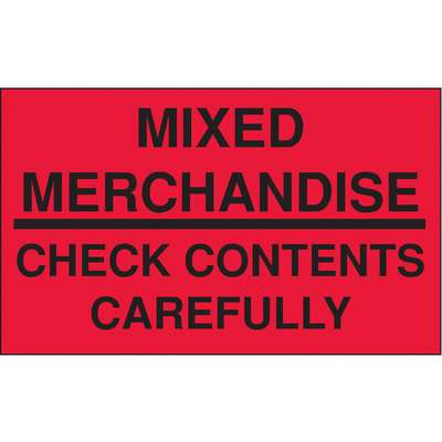 "Shipping Labels, Mixed Merch., Check Contents, Paper, Adhesive Back, 5"" Width, 3"" Height"