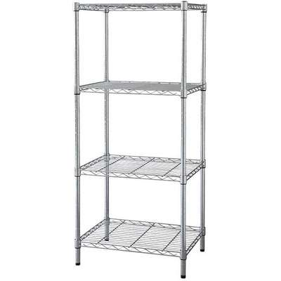 "Starter Wire Shelving Unit, 48""W x 24""D x 74""H, 4 Shelves, Chrome Plated Finish, Silver"
