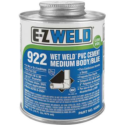 Blue Solvent Cement, Size 8, For Use With PVC, Schedule 40 and 80 Pipes and Fittings Up To 8
