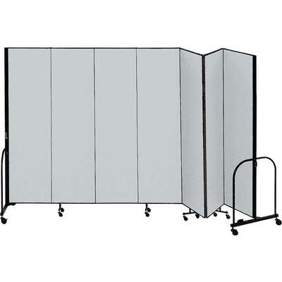7 Panel Fully Assembled Portable Room Divider; 5 ft. H x 13 ft. 1 in. W, Gray