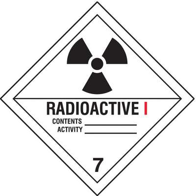 Radioactive I, Class 7 Vinyl, Self-Sticking DOT Label