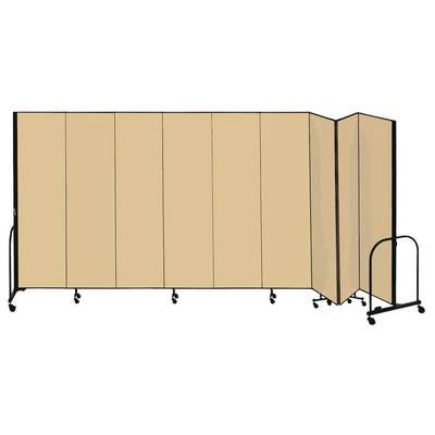 9 Panel Fully Assembled Portable Room Divider; 6 ft. 8 in. H x 16 ft. 9 in. W, Beige