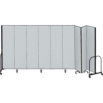 9 Panel Fully Assembled Portable Room Divider; 6 ft. 8 in. H x 16 ft. 9 in. W, Gray