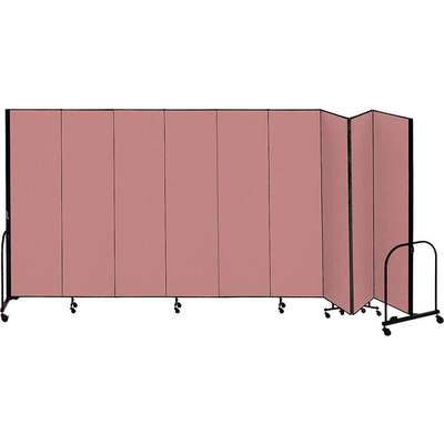 9 Panel Fully Assembled Portable Room Divider; 4 ft. H x 16 ft. 9 in. W, Mauve